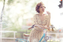 Girl  with vintage bike Royalty Free Stock Photo