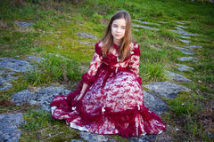 Girl with vintage dress Stock Image