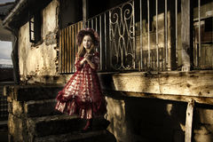 Girl with vintage dress Royalty Free Stock Photography