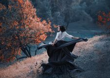 A girl in a vintage dress. Splits into particles, like ash. Background wild nature. Artistic Photography Royalty Free Stock Images