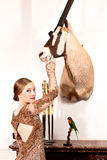 Girl in Vintage dress with stuffed oryx and bird Royalty Free Stock Photos
