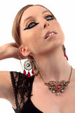 Girl vintage necklace earring looking up Royalty Free Stock Images