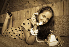 Girl at vintage room Royalty Free Stock Images