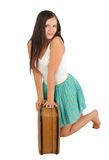 Girl with  vintage  suitcase Stock Image