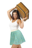 Girl with  vintage  suitcase Royalty Free Stock Images