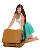 Girl with  vintage  suitcase Stock Photography