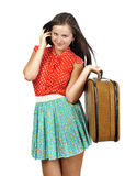 Girl with  vintage  suitcase Royalty Free Stock Photography
