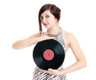 Girl with vinyl Stock Photo