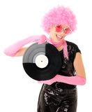 Girl with vinyl Stock Images