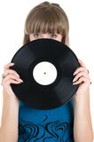 Girl with vinyl Royalty Free Stock Photos