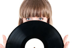 Girl and vinyl disc Stock Photo