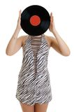 Girl with vinyl disc Royalty Free Stock Photography