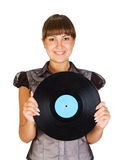 Girl with vinyl Disc Royalty Free Stock Photo
