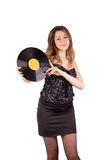 Girl with vinyl disc Stock Photo