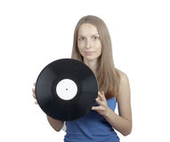 Girl with vinyl disc, isolated on white Royalty Free Stock Photos