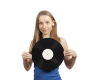 Girl with vinyl disc, isolated on white Royalty Free Stock Photography