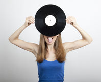 Girl with vinyl disc,  on white Royalty Free Stock Photo