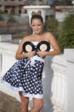 Girl. With vinyl records in the hands of Stock Photography