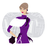 Girl in violet. Dress and gloves Royalty Free Stock Photo