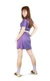 Girl in violet dress Stock Photos