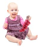 Girl in violet dress with grapes branch Stock Photo