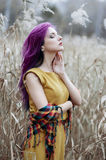 Girl with violet hair. Freak girl with purple hair in high autumn grass Royalty Free Stock Photo