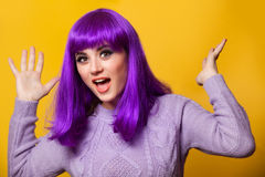 Girl with violet hair Royalty Free Stock Images