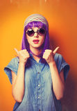 Girl with violet hair in sunglasses Royalty Free Stock Photos