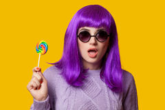 Girl with violet hair Royalty Free Stock Photography
