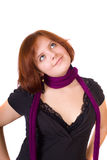 Girl in a violet scarf Royalty Free Stock Photos