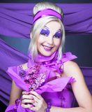 Girl in violet Royalty Free Stock Images