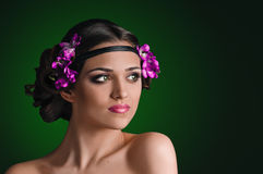 Girl with violets Stock Photo