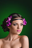 Girl with violets Royalty Free Stock Photo
