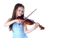 Girl with violin. Isolated on white Royalty Free Stock Photo