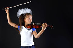 Girl and violin Stock Photography