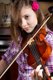 Girl and Violin Royalty Free Stock Photography