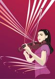 Girl and Violin. The girl playing classic violin. Layered. File in Corel Draw. CMYK colors Stock Photos