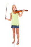Girl violin bow Royalty Free Stock Image