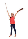 Girl with violin and bow. Happy little girl with a violin and bow Stock Image