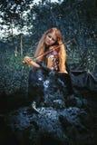 Girl with a violin outdoor Royalty Free Stock Photos