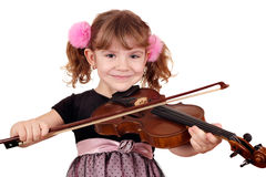 Girl with violin portrait Stock Images