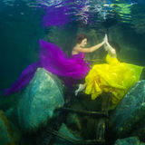 The girl with a violin under water Royalty Free Stock Image
