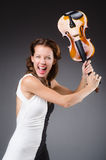 Girl with violin  on white Stock Photo