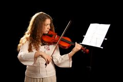 Girl Violinist And Pult Royalty Free Stock Images