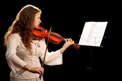Girl Violinist And Pult Royalty Free Stock Image