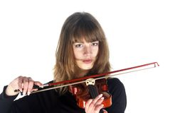 Girl violinist no smile Royalty Free Stock Image