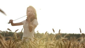 Girl violinist playing the violin in wheat field. stock video footage