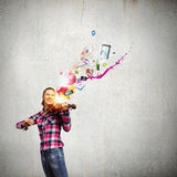 Girl violinist Royalty Free Stock Image