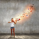 Girl violinist Stock Photography