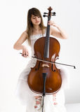 Girl with violoncello Stock Photography